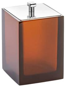 Porta Cotonete Quadrada Resina - Ambar - Inox  Ambar