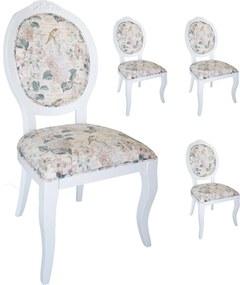 Jogo 4 Cadeiras Medalhão Lille - Branco - Tecido Floral Aurora  Kleiner Schein
