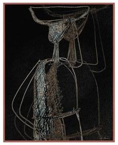 Quadro Decorativo Figurativo Mulher em Movimento Com a Mão na Cabeça Preto e Dourado - CZ 44118