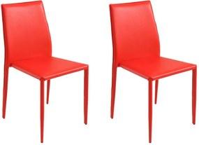 Kit 2 Cadeiras Decorativas Sala e Cozinha Karma PVC Vermelha - Gran Belo