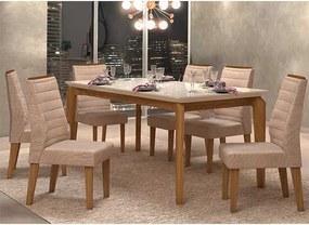 Mesa de Jantar Dália 170cm Carvalho Nobre Off White + 6 Cadeiras Curvata Linho Saara