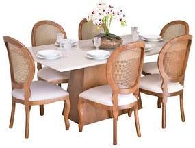 Conjunto Sala de Jantar Mesa Bonnie com 6 Cadeiras Medalhão Palha - Wood Prime 38716