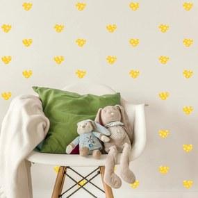 Adesivo de Parede Quartinhos Infantil Coração Amarelo Poá Bolinhas