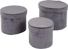 Conjunto de Caixas de Veludo Cinza 3 peças