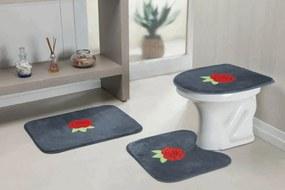 Jogo de Banheiro Guga Tapetes Standard Rosas 3 Pçs Cinza