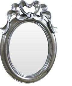 Espelho Clássico Oval Prateado com Arabesco - 59x3x36cm