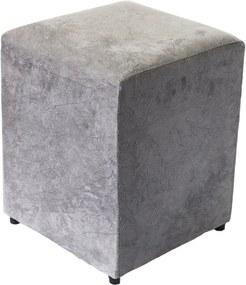 Puff Cubo Quadrado Box Decorativo Suede (34x34x45cm) - Cinza