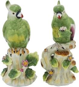 Par de Cacatua Verde em Porcelana - 23x11cm