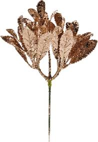 Pick Enfeite Natal Galho Folhas Glitter Rose 25cm 1 Unidade