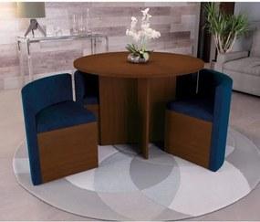 Sala de Jantar Nira com 4 Cadeiras Kappesberg - Walnut/Azul Marinho