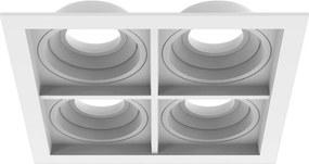 Plafon Embutir Quadruplo Aluminio Injetado Branco Quadra