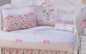 Kit Berço Laços Baby Sonho Encantado Floral Rosa e Branco