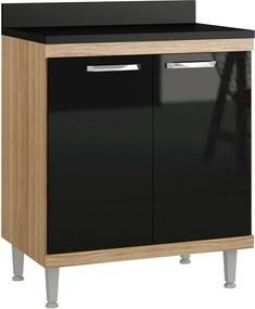 Armário de Cozinha para Cooktop 2 Portas 2541.854tp Argila/Preto - Multimóveis