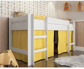 Cama Infantil Alta com Cortina Amarela - Branco