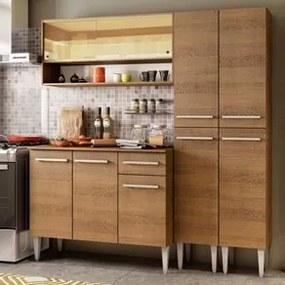 Cozinha Compacta Madesa Emilly Winter com Armário Vidro Reflex e Balcão Rustic Cor:Rustic