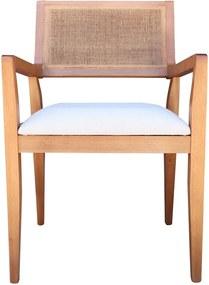 Cadeira Decorativa Sala de Jantar Megan Amêndoa Linho Bege - Gran Belo