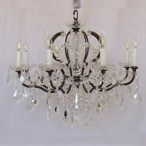 11654dc17b Lustre Clássico em Metal 8 Velas Gotas de Cristal Lapidado