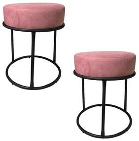 Kit 2 Puffs Decorativos Redondos Luxe Base de Aço Preta Suede Rosê - Sheep Estofados - Rosa