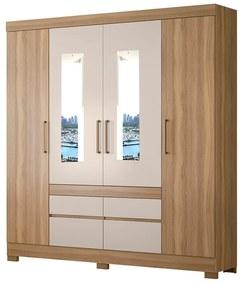 Guarda-Roupa Amélia D01 4 Portas com Espelho Amêndola Touch/Off White - ADJ DECOR