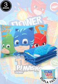 Jogo de Cama 3pçs Solteiro Lepper PJ Masks Azul