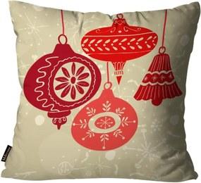 Capa para Almofada Mdecore Natal Bolas de Natal Bege 45x45cm