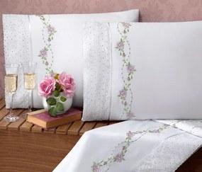 Roupa de Cama Casal Queen Bouquet 100% Algodão 200 Fios 04 Peças - Branco