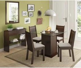 Sala de Jantar Yasmin Mesa, 4 Cadeiras e Aparador - Rustic/Pérola