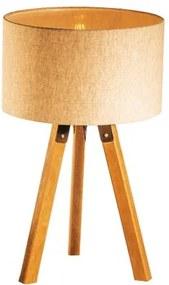 Abajur de Mesa Tripé | Madeira de Cedro | Cúpula de Tecido Bege Crua | Tam: 58x29cm | Mod: Eros
