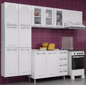 Cozinha Aço Completa Criativa C/ Gabinete Tampo Aéreo Vidro Branca