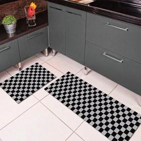 Jogo de Tapete de Cozinha, Xadrez - 2 Pças