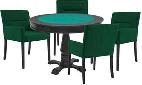 Mesa de Jogos Carteado Victoria Redonda Tampo Reversível Preto com 4 Cadeiras Vicenza Verde - Gran Belo