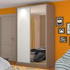 Guarda-Roupa Solteiro 2 Portas Correr 1 Espelho 100% Mdf Rc2004 Ocre/Branco - Nova Mobile
