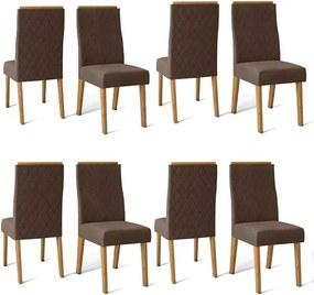 Conjunto 8 Cadeiras Cássia Carvalho Nobre Tecido Veludo Moca