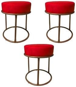 Kit 3 Puffs Decorativos Redondos Luxe Base de Aço Cobre Suede Vermelho - Sheep Estofados - Vermelho