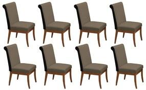 Conjunto 8 Cadeiras Larissa Veludo Cappuccino + Couríssimo Preto