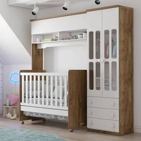 Quarto de Bebê Modulado Delicato e Berço Ninare Branco/Teka - Matic