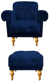kit Poltrona e Puff Decorativos Dani Suede Azul Marinho - ADJ Decor