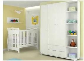 Jogo de Quarto Infantil com Guarda Roupa Lorena 03 Portas e Berço Bambini Branco - Phoenix Baby