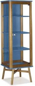 Cristaleira Aldry em Madeira Maciça e Vidro - Azul Forte