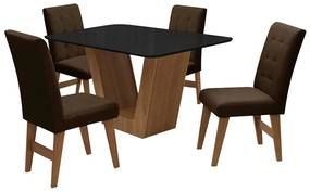 Conjunto Mesa de Jantar Safira com 04 Cadeiras Agata 135cm Cedro/Preto/Chocolate - ADJ DECOR