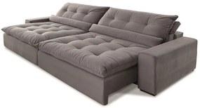 Sofá 4 Lugares Retrátil e Reclinável - Confortable Suede Cinza