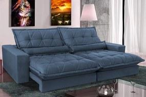 Sofa Retrátil E Reclinável 2,72m Com Molas Ensacadas Cama Inbox Soft Tecido Suede Azul