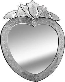 Espelho Veneziano Grande Bisotado Formato de Coração - 97x5x79cm
