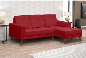 Sofá Xander C/ 3 Lugares (L:200cm) C/ Chaise Suede Liso Vermelho DST