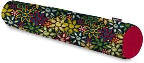Rolo Decorativo Pump UP Estampa Flores Coloridas Pequeno 64x12 cm Vermelho