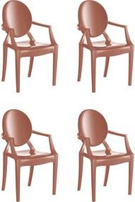 4 Cadeiras Wind Plus Terracota Solido De Plástico UZ Kappesberg Marrom