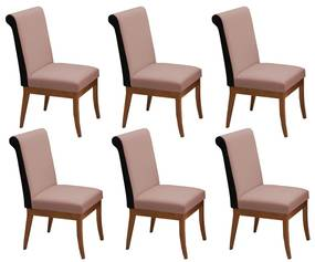 Conjunto 6 Cadeiras Larissa Veludo Crepe + Couríssimo Preto