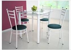 Mesa Tulipa Branco com 4 Cadeiras com Assento Corano Preto - Marcheli