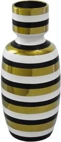 Vaso Decorativo Médio em Porcelana Dourado Branco e Preto