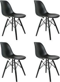 Conjunto 4 Cadeiras Eames Preta Com Pé Preto Dsw - Concept